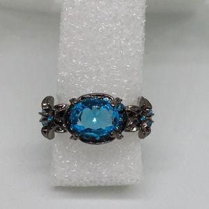 Luny's Emporium Jewelry - Women's Size 9 Gothic Darkness Blue Zircon Ring